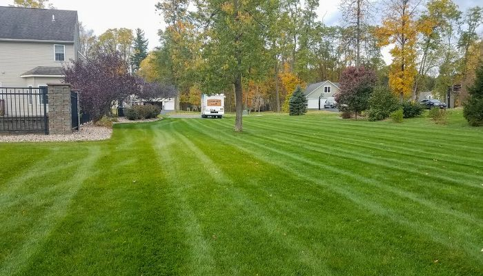 A image of a beautiful green lush healthy lawn after aeration services.
