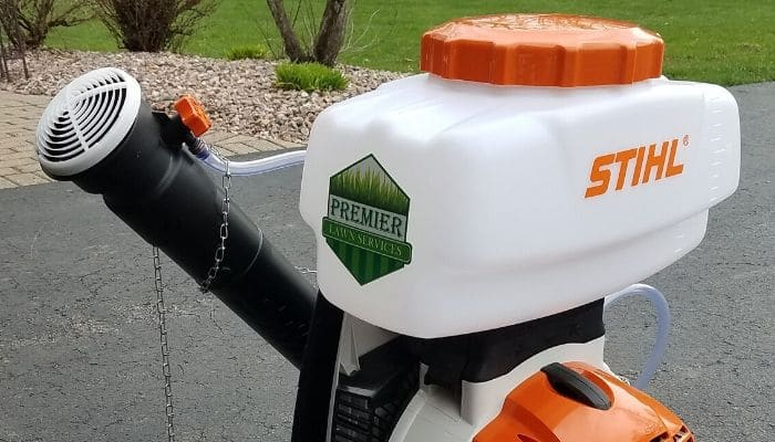 Professional grade equipment used to provide lawn insect control services.