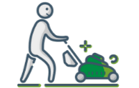 Person Mowing Grass Icon